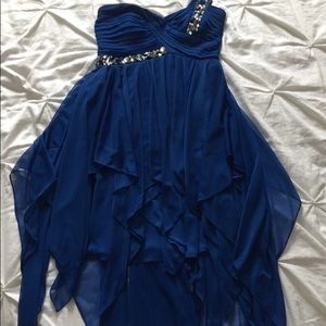 High-low royal blue formal dress
